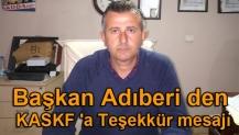 Başkan Adıberi den KASKF 'a Teşekkür mesajı
